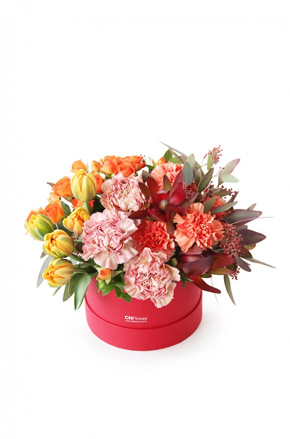 A10HW1802豐收派對 小紅圓鮮花禮盒2600 (2)