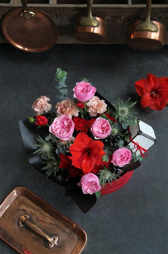 A10MD1917【CNFlower x 珠寶盒法式點心坊 】甜蜜生活-庭園玫瑰款 蛋糕花禮 3980-7
