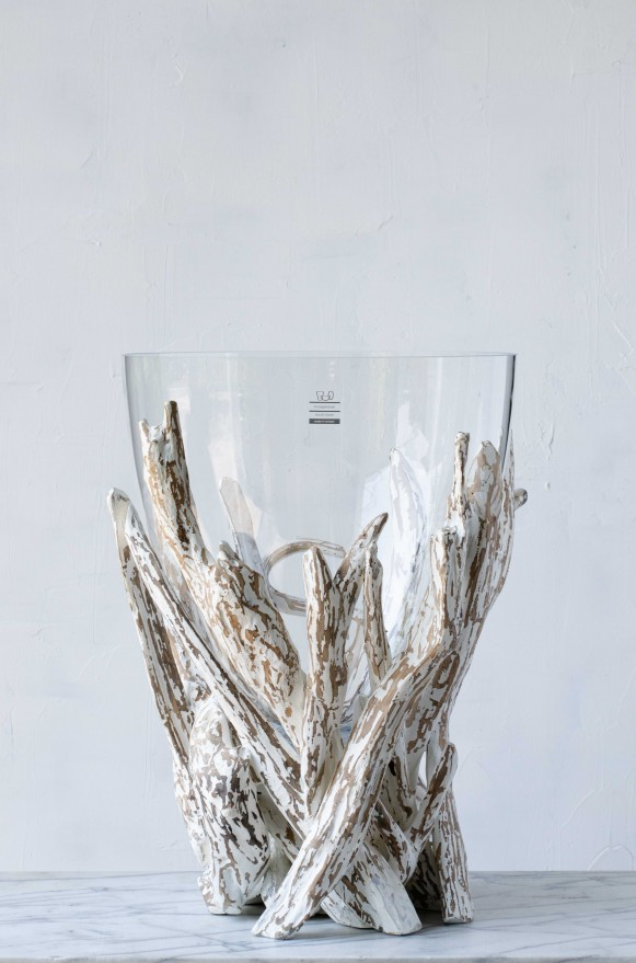 SCH-45379漂流木口吹玻璃花器(H47)_24800 (3)