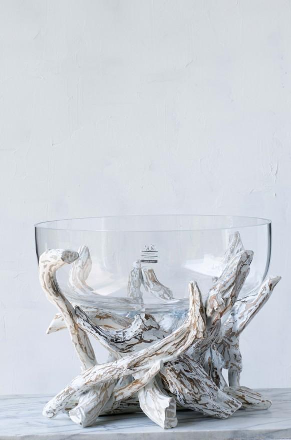 SCH-45389漂流木口吹玻璃花器(H32)_23000